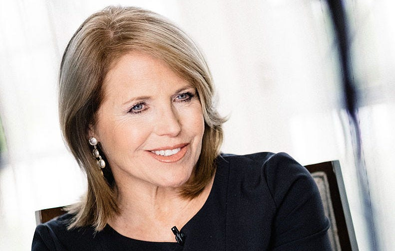 Katie Couric speaks during an interview promoting the EPIX Original Documentary 'Under The Gun'