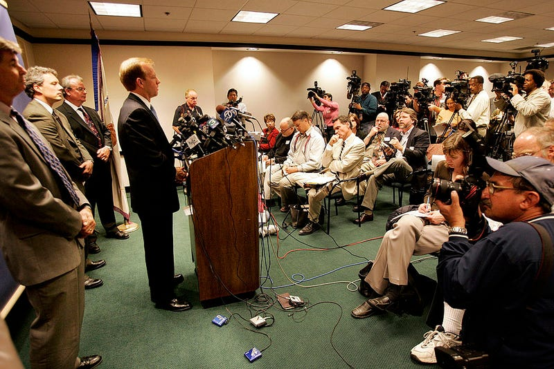 U.S. Attorney McGregor Scott speaks during a press conference on June 8, 2005 in Sacramento, California. On June 5, 2005 both Umer Hayat, 47, and his son Hamid Hayat, 22, were arrested by FBI agents charging each with one count alleging making a false statement to a Federal Agent. The two are suspected of having links to an al-Qaida camp in Pakistan. (Photo by David Paul Morris/Getty Images)