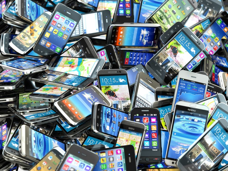 A pile of cell phones