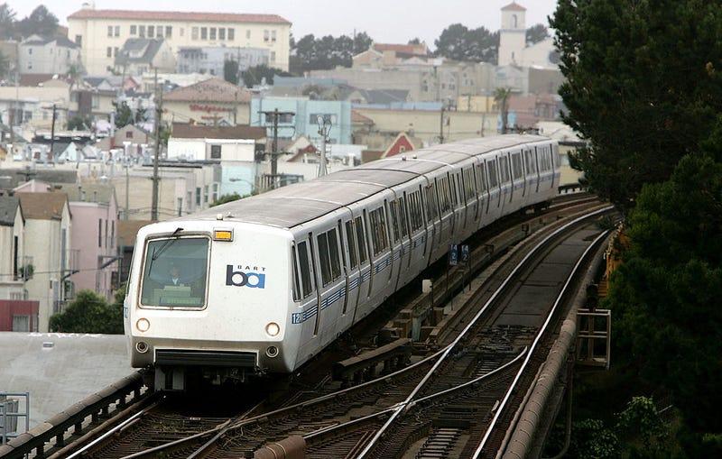 A Bay Area Rapid Transit (BART) train travels towards downtown San Francisco July 5, 2005 in San Francisco, California.