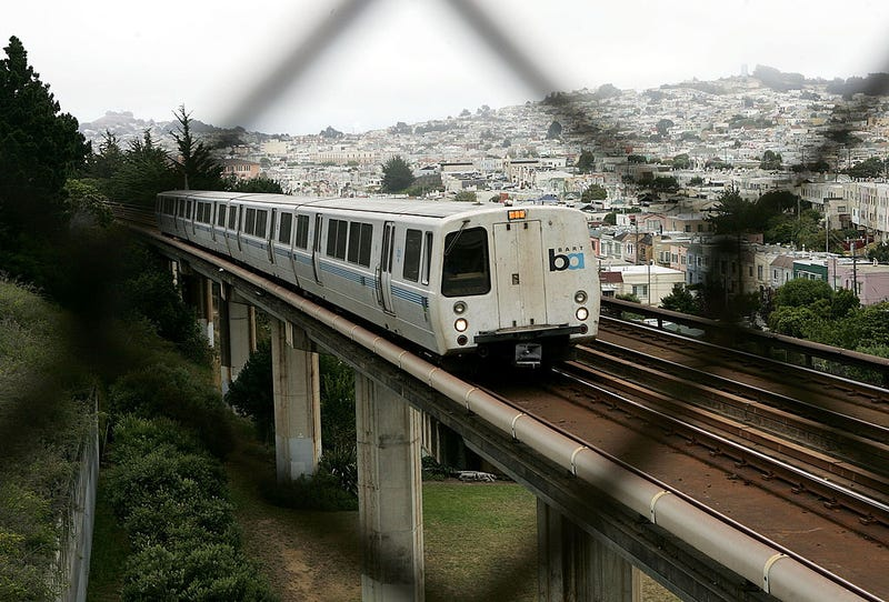 A Bay Area Rapid Transit (BART) train is seen through a fence July 5, 2005 in San Francisco, California.