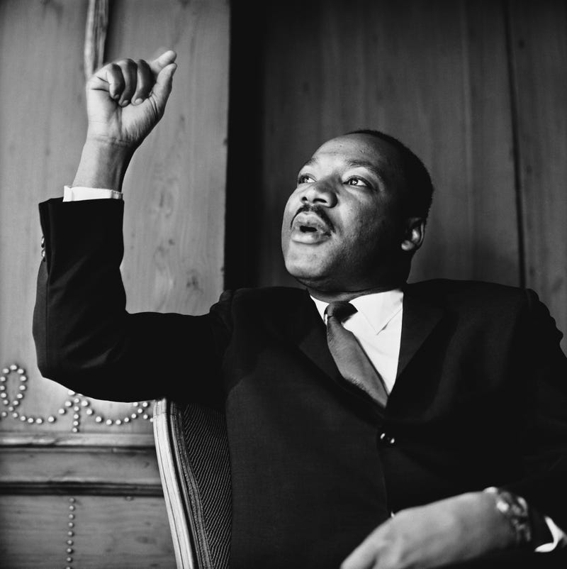 American civil rights leader Martin Luther King, Jr. (1929 - 1968) at a press conference in London, September 1964
