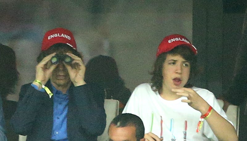 mick jagger at soccer game with son lucas