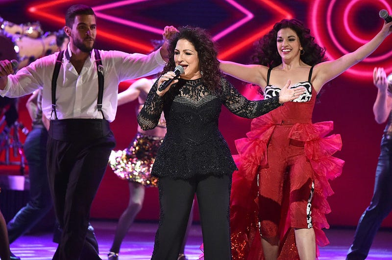 Josh Segarra, Gloria Estefan and Ana Villafane of 'On Your Feet!' perform onstage during the 70th Annual Tony Awards