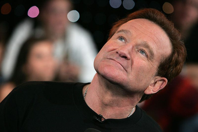 Actor Robin Williams appears onstage during MTV's Total Request Live at the MTV Times Square Studios on April 27, 2006 in New York City.
