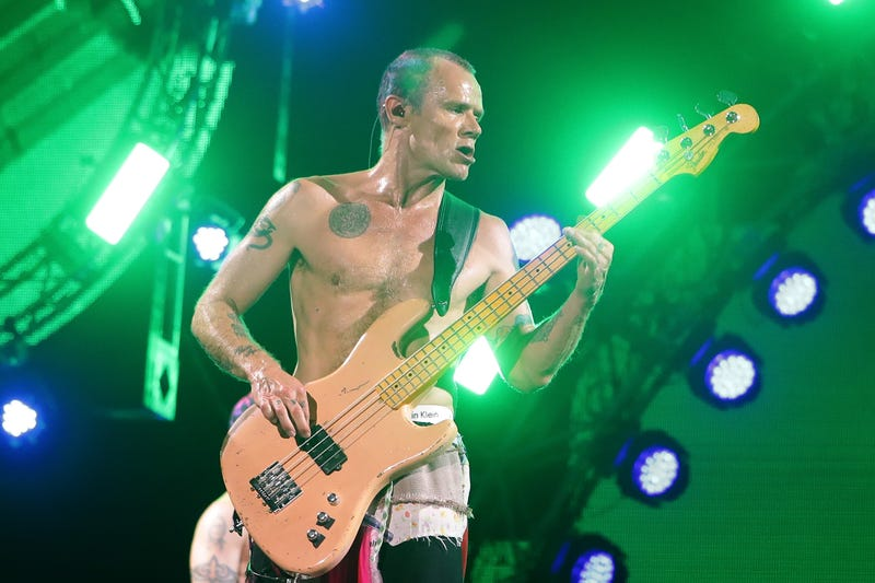 Michael 'Flea' Balzary of the Red Hot Chili Peppers performs on stage during the Valley Rock Festival