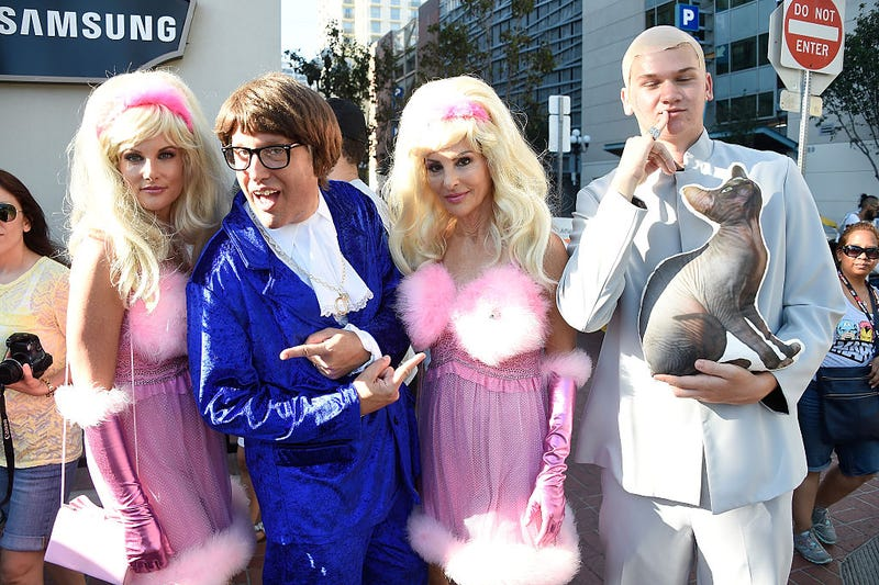 Austin Powers cosplayers attend Comic-Con International on July 22, 2016 in San Diego, California.