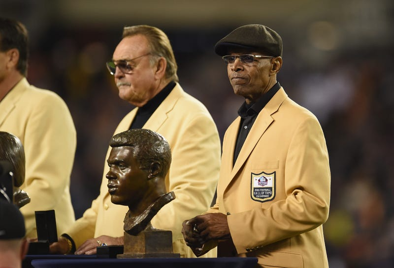 Pro Football Hall of Fame member Gale Sayers is honored at halftime during the game between the Minnesota Vikings and the Chicago Bears at Soldier Field on October 31, 2016 in Chicago, Illinois