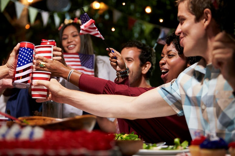 Fourth of July, American Flags, Drinking, Party