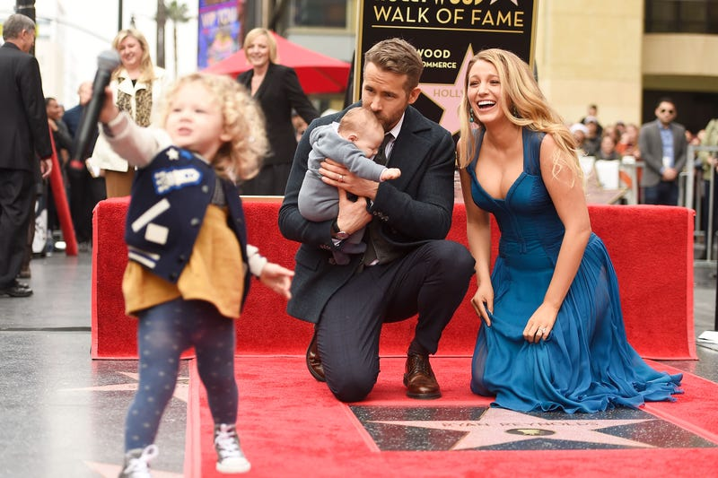 ryan reynolds and blake lively with their daughters as Ryan Reynolds is honored with star on the Hollywood Walk of Fame on December 15, 2016