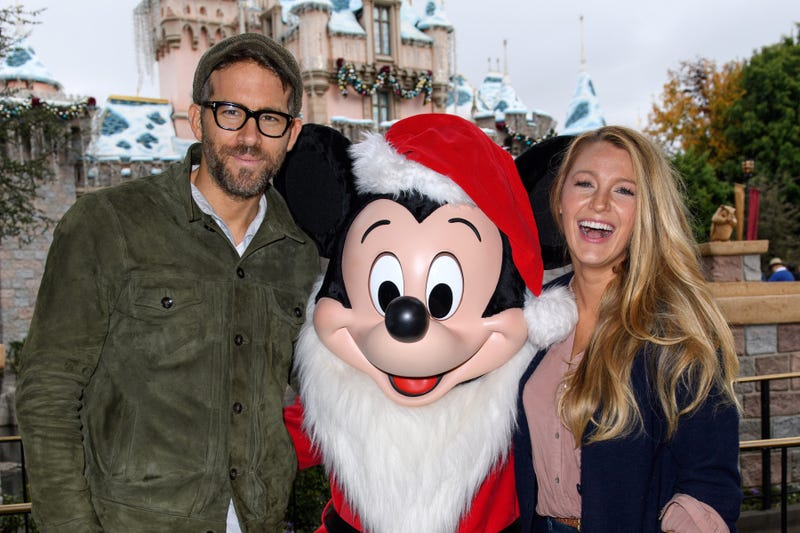 ryan reynolds, mickey mouse and blake lively in disneyland