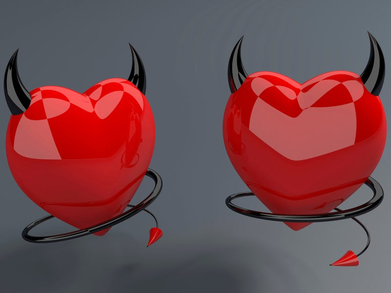 Devil red hearts with horns and tails