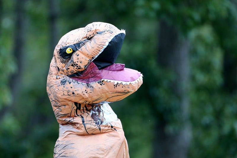person dressed as dinosaur
