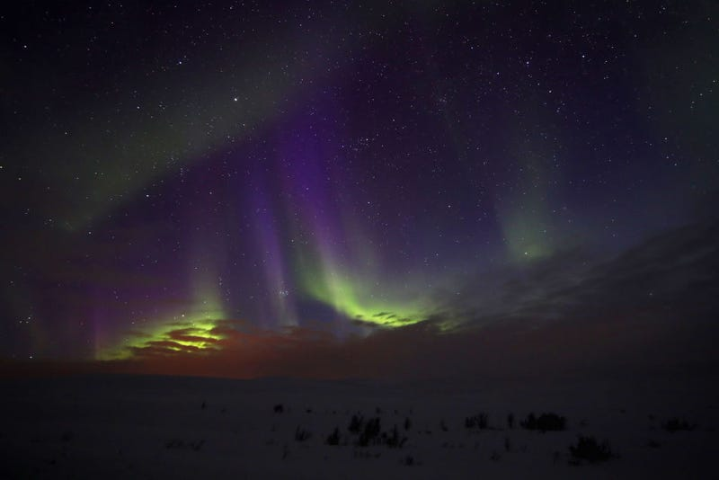 A general view of the Aurora Borealis or Northern Lights on the Stokkedalsvelen E6