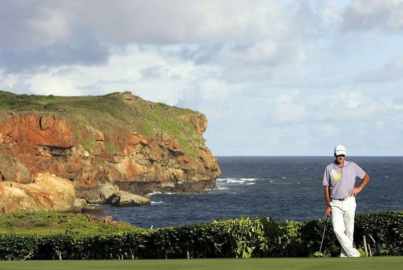 Geoff Ogilvy looks on at the Poipu Bay Golf Course on Kauai.