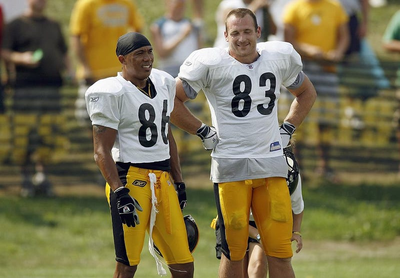 Hines Ward and Heath Miller at Steelers Training Camp in 2007