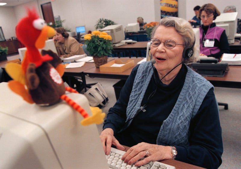 woman helps at the butterball hotline