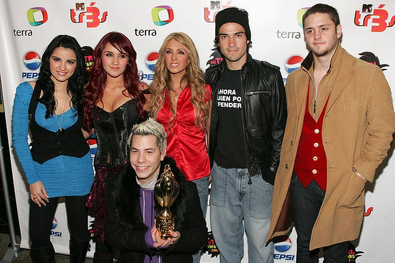 "Singers Maite Perroni, Dulce Maria, Christian Chavez, Anahi, Alfonso Herrera and Christopher Uckermann of RBD attend the 1st Annual ""Mi TRL Awards"" at the MTV Times Square studios on December 13, 2007 in New York City."