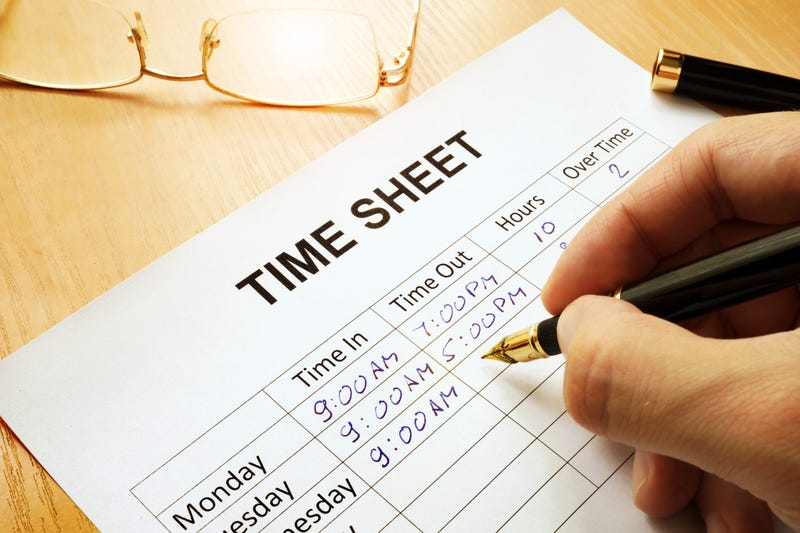An employee time sheet