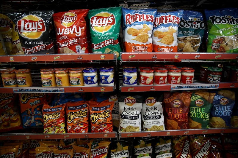 Frito-Lay chips displayed on a store shelf in California.