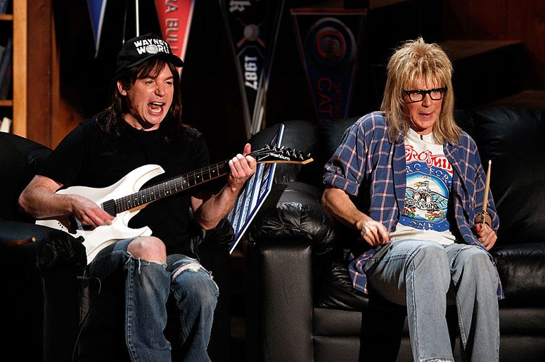 Mike Myers and Dana Carvey as Wayne and Garth