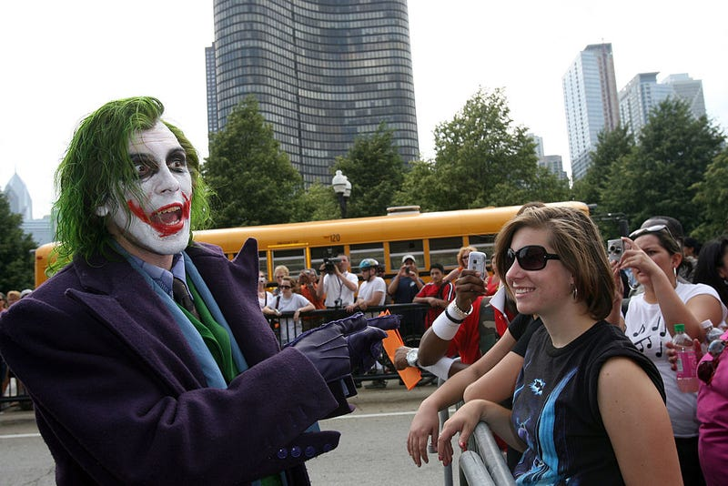 The Joker greets fans at the Chicago premiere of ''The Dark Knight'' on July 16, 2008 in Chicago, Illinois.