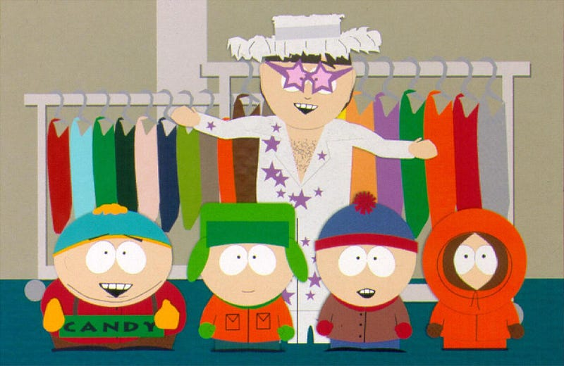 """Characters from the cartoon TV show """"South Park"""", including Elton John (rear) with (from L to R) Kenny, Stan, Kyle and Cartman are featured in a 1998 episode."""
