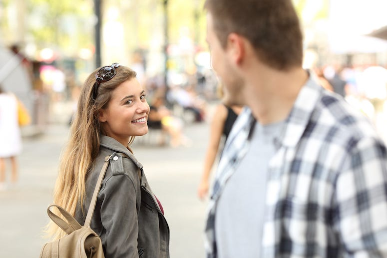 Man, Woman, Walking, Street, Flirting