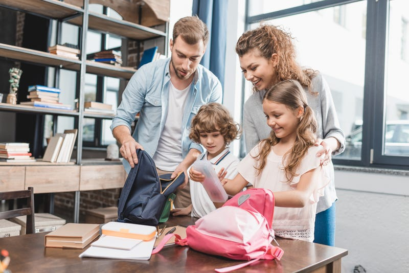 parents and their children prepare for back to school