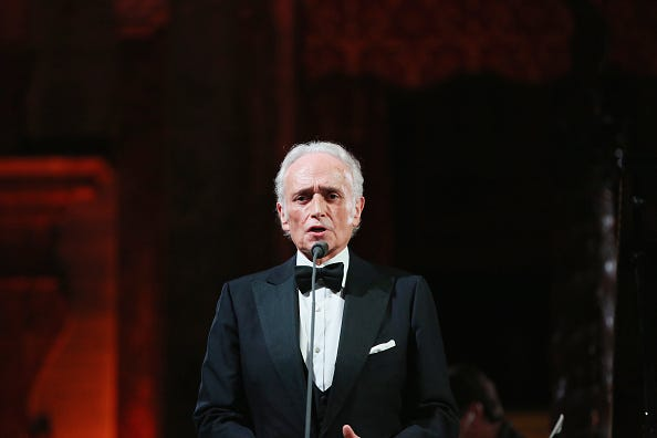 Jose Carreras performs during the Dinner and Entertainment at Palazzo Colonna as part of the 2017 Celebrity Fight Night in Italy Benefiting The Andrea Bocelli Foundation and the Muhammad Ali Parkinson Center on September 7, 2017 in Rome, Italy.