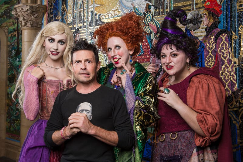 """Actor Jason Marsden, who voiced the cat Thackery Binx in Disney's """"Hocus Pocus,"""" visits the infamous Sanderson Sisters Thursday, September 7, 2017, after their live performance at Magic Kingdom Park during Mickey's Not So Scary Halloween Party."""