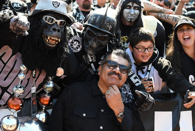 Comedian/Actor George Lopez posing for pictures with fans prior to the start of an NFL football game between the New York Jets and Oakland Raiders at Oakland-Alameda County Coliseum on September 17, 2017 in Oakland, California.