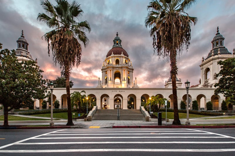 pasadena city hall showing staircases, towers, front and rear elevations, courtyard and foyer