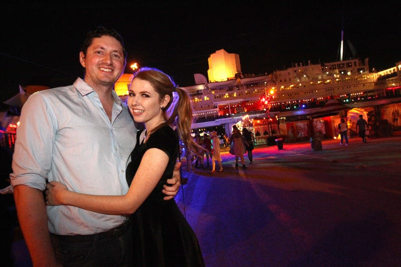 Joseph Levi and Saige Ryan attend the Queen Mary's Dark Harbor Media & VIP Preview Event on September 28, 2017 in Long Beach, California.