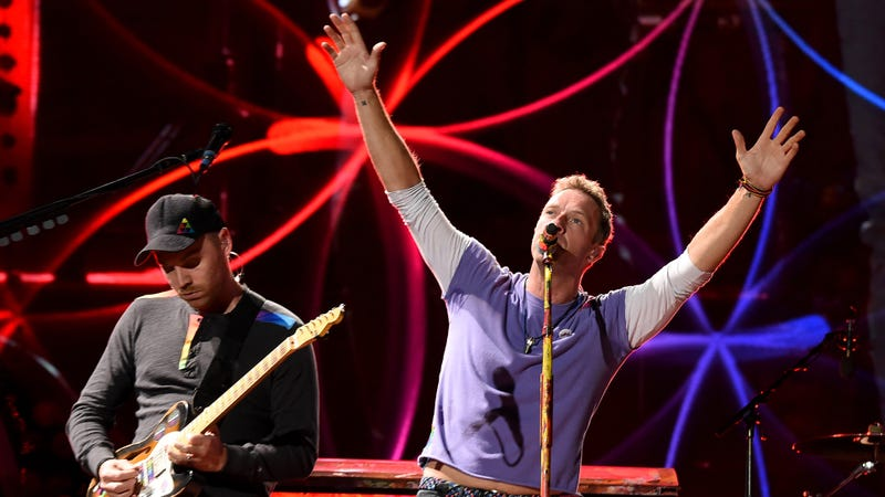 Jonny Buckland and Chris Martin of Coldplay