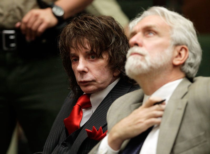 Phil Spector (L) and his attorney Dennis Riordan look on during sentencing in Los Angeles Crimminal Courts on May 29, 2009 in Los Angeles, California, for the February 2003 shooting death of actress Lana Clarkson Spector was sentenced for 19 years to life.