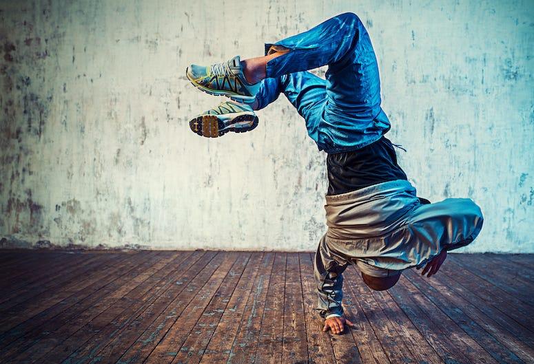Man, Breakdancing, Wooden Floor