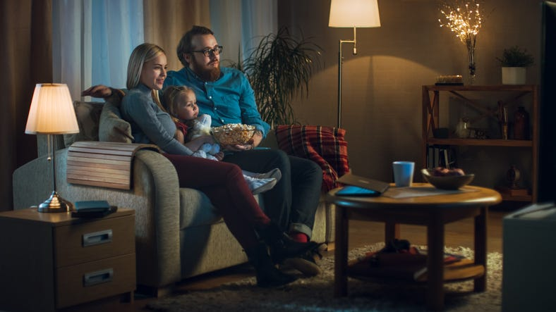 family watches movie