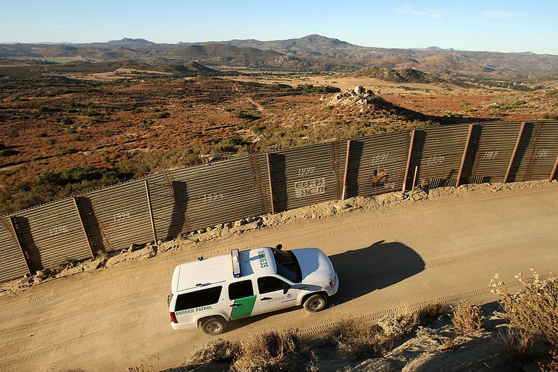 US Border Patrol agents carry out special operations near the US-Mexico border fence