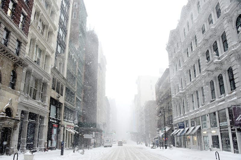 Streets in Soho are covered in snow during a massive winter storm on January 4, 2018 in New York City.