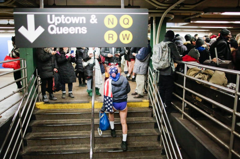 People in underwear take part in the No Pants Subway Ride