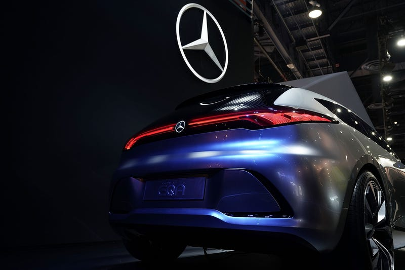 A Mercedes-Benz concept electric vehicle on display at a 2018 consumer technology fair.