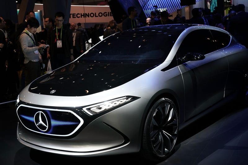 A Mercedes-Benz concept electric vehicle at a 2018 consumer technology show.