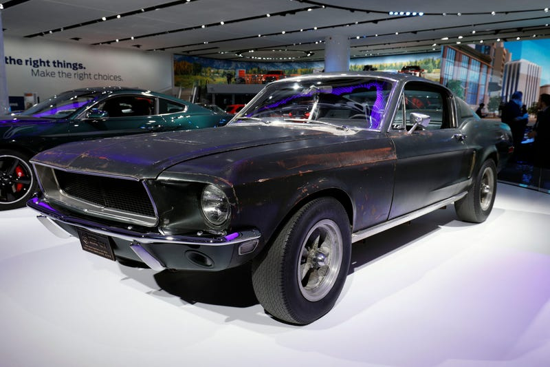 The car Steve McQueen drove in the 1978 film 'Bullitt' on display at the Ford exhibit at the 2018 North American International Auto Show in 2018