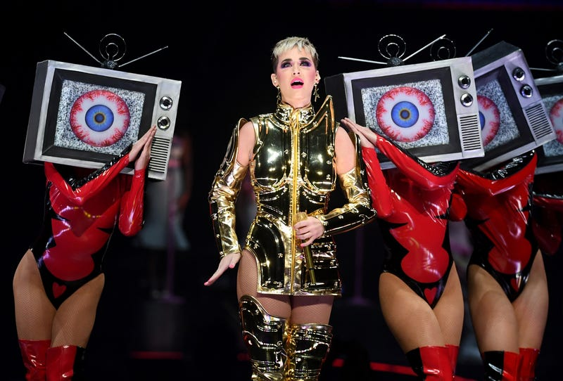 katy perry in gold dress at futuristic performance