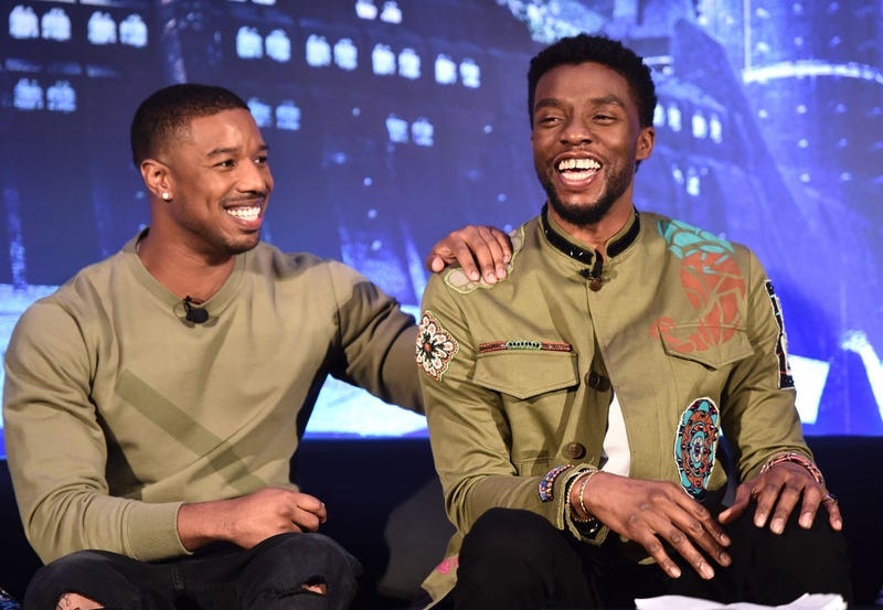 Michael B. Jordan and Chadwick Boseman at a 'Black Panther' global press junket in 2018
