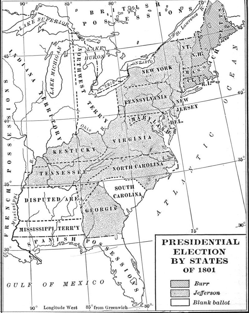 Map illustrates votes, by state, in the US Presidential election of 1800, late nineteenth century. It is broken down as votes for Aaron Burr, Thomas Jefferson, or 'Blank Ballot'.