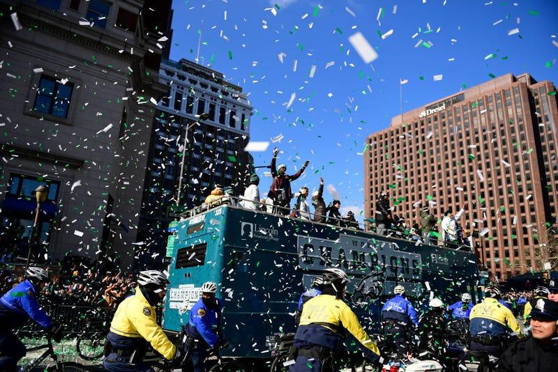 Philadelphia Eagles players riding a bus relish the celebration during festivities on February 8, 2018 in Philadelphia