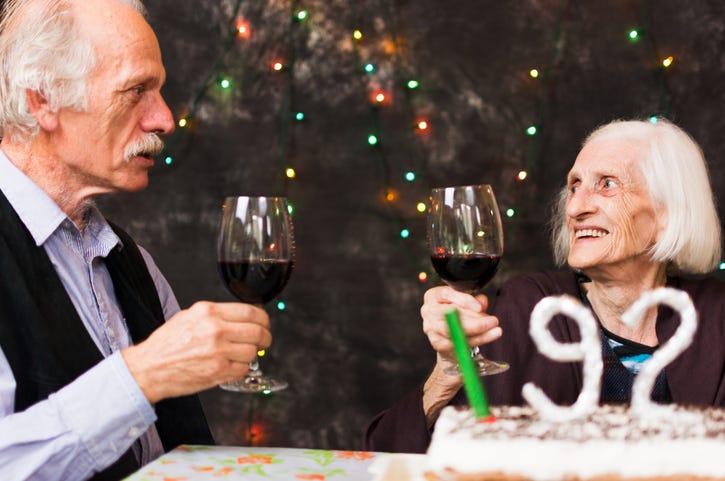 grandparents drinking wine