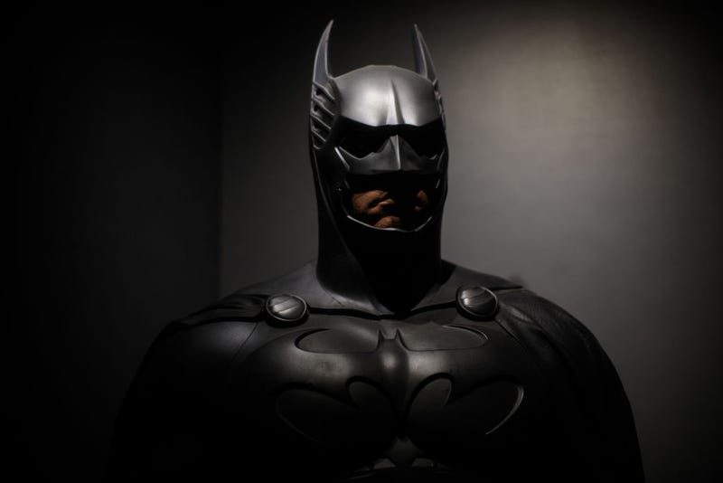 A Batman costume from the 1995 Batman Forever film worn by Val Kilmer